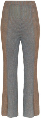 Eckhaus Latta Ribbed Knit Kick Flare Trousers