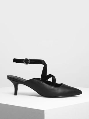Charles & Keith Criss Cross Velvet Strap Heels
