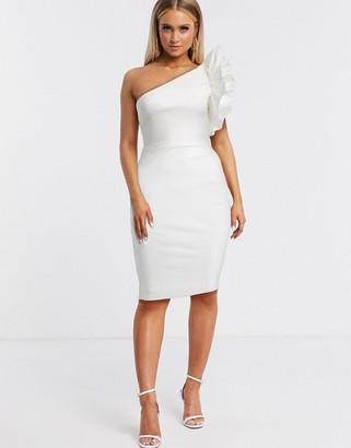 Vesper one shoulder ruffle detail midi dress in white