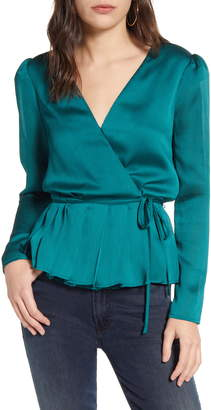 Chelsea28 Long Sleeve Pleated Wrap Top