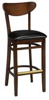 "Regal Beechwood Moon Shape Back Upholstered Seat Bar & Counter Stool Seat Height: Bar Stool (31"" Seat Height)"