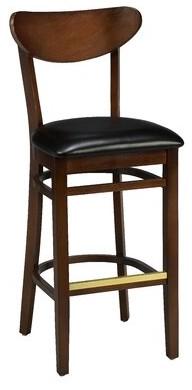 "Regal Beechwood Moon Shape Back Upholstered Seat Bar & Counter Stool Seat Height: Bar Stool (31"" Seat Height)"