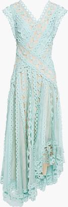 Zimmermann Moncur Asymmetric Broderie Anglaise Cotton And Gauze Dress