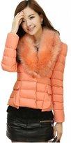 TRURENDI Women's Winter Warm Jacket Fur Collar Coats Down Short Jacket Coat Overcoat