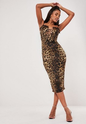Missguided Brown Leopard Print Lace Up Corset Midi Dress