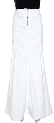 Just Cavalli White Denim Flared Maxi Skirt L