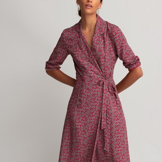 La Redoute Collections Floral Print Wrapover Dress with 3/4 Length Sleeves