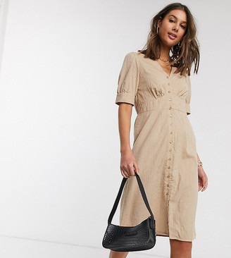 Vero Moda Tall midi dress with puff sleeves in beige