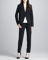 Vince Silk/Leather V-Neck Top, White