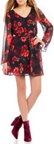 I.N. San Francisco Rose-Printed A-Line Dress
