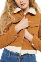 Topshop Women's Borg Trim Crop Denim Jacket
