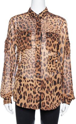 Dolce & Gabbana Brown Leopard Print Cotton & Silk Button Front Shirt M