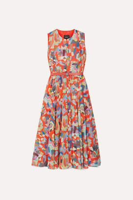 Akris Belted Printed Cotton Midi Dress - Orange