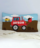 He Loves Construction Personalized Pillowcase