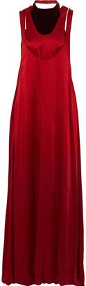 Valentino Layered Velvet-paneled Satin-crepe Gown