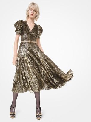 Michael Kors Leopard Metallic Fil Coupe Dance Dress