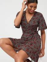 Very Frill Wrap Mini Dress - Ditsy Print
