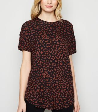 New Look Leopard Print Scoop T-Shirt