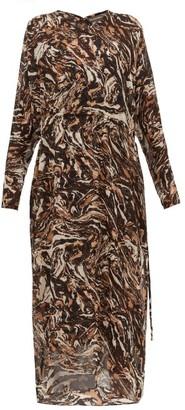 Raey Drawstring-waist Marbled Animal-print Silk Dress - Womens - Brown Print