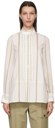 Chloé White Cotton and Georgette Striped Shirt
