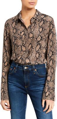 Frame Snake-Print Long-Cuff Pajama Blouse