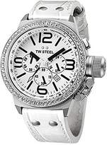 TW Steel Men's TW10 Canteen White Leather Chronograph Dial Watch by