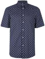 Wood Wood Blue And White Diamond Print Short Sleeve Shirt