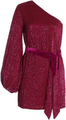 retrofete Bridget Cold-Shoulder Belted Georgette Mini Dress