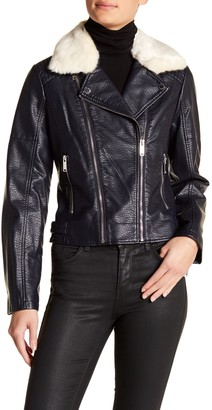 French Connection Faux Fur Collar Faux Leather Moto Jacket