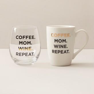 Indigo Coffee Mom Wine Repeat Mug And Stemless Wine Glass Set
