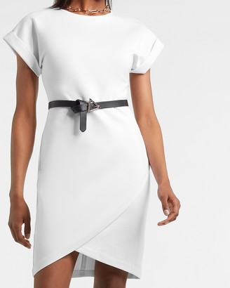 Express Rolled Sleeve Wrap Front Sheath Dress