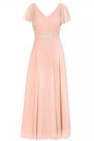 Quiz Peach Chiffon V Neck Maxi Dress