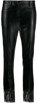 Philosophy di Lorenzo Serafini Fringed Faux-Leather Trousers