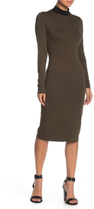 Max & Ash Contrast Mock Neck Midi Dress