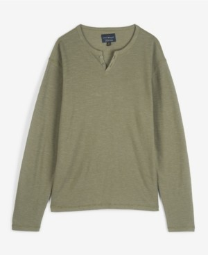 Lucky Brand Men's Button Notch Neck Slub Thermal Knit T-shirt