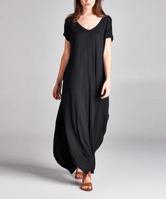 Love, Kuza Women's Maxi Dresses BLACK - Black Pocket Baseball-Hem Maxi Dress - Women