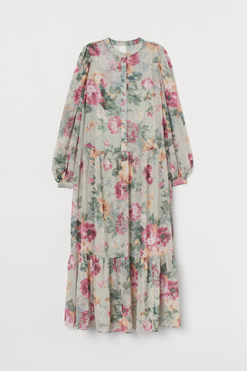 H&M Puff-sleeved Chiffon Dress
