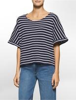 Calvin Klein Boxy Waffle Knit Stripe Top