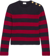 RED Valentino Striped Ribbed Wool Sweater - Claret