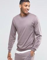 Asos Loungewear Towelling Sweatshirt With Reverse Panels In Violet