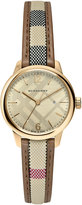 Burberry 32mm Heritage Check Stainless Steel Watch w/ Fabric Strap, Golden
