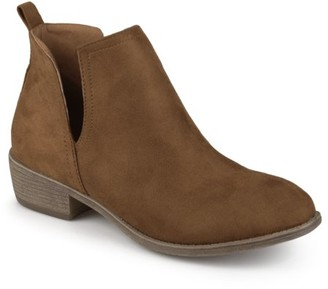 Brinley Co. Women's Wide Width Faux Suede Cut-out Round Toe Boots