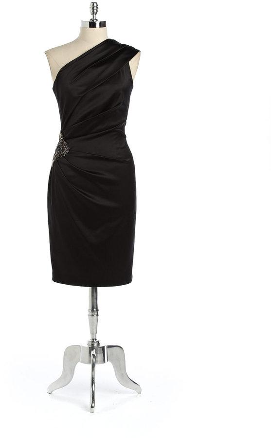 Eliza J Plus-Size Embellished One-Shoulder Satin Dress