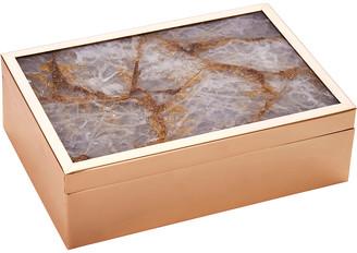 Sagebrook Home Rose Gold Stone Lid Box