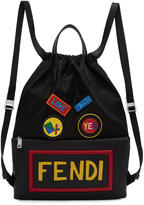 Fendi Black Nylon Logo Drawstring Backpack