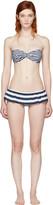 Dolce & Gabbana Blue and White Striped Flounce Bikini