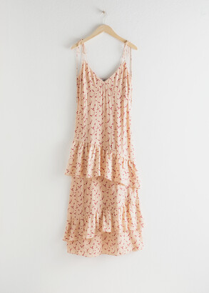 And other stories Ruffled Shoulder Tie Maxi Dress