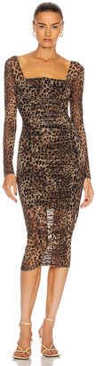JONATHAN SIMKHAI STANDARD Ruched Dress in Leopard | FWRD