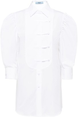 Prada Puff-Sleeve Poplin Shirt