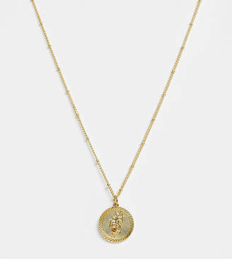 Reclaimed Vintage inspired 14k gold plate sagittarius star sign coin necklace